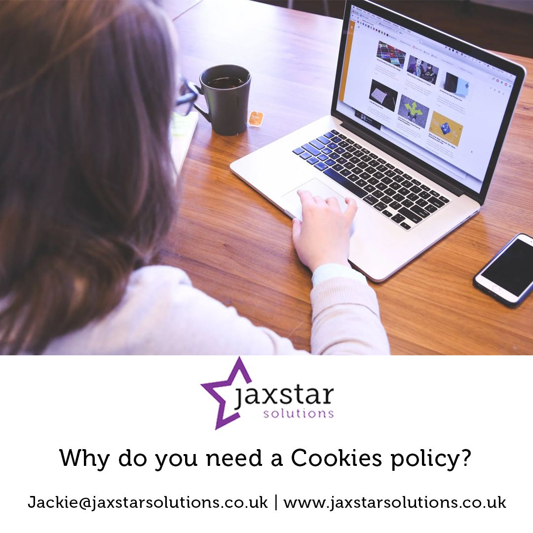 Why do you need a Cookies policy? Woman with laptop scrolling